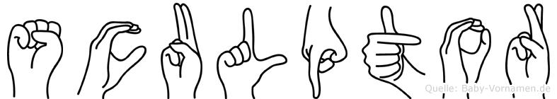 Sculptor im Fingeralphabet der Deutschen Gebärdensprache