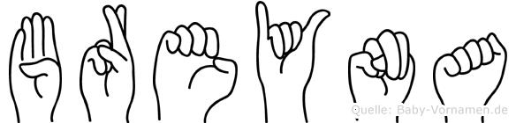 Breyna im Fingeralphabet der Deutschen Gebärdensprache