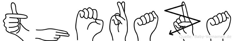 Theraza im Fingeralphabet der Deutschen Gebärdensprache