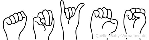 Anyes im Fingeralphabet der Deutschen Gebärdensprache