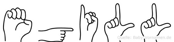 Egill im Fingeralphabet der Deutschen Gebärdensprache