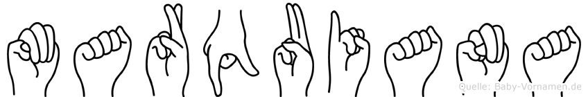 Marquiana im Fingeralphabet der Deutschen Gebärdensprache