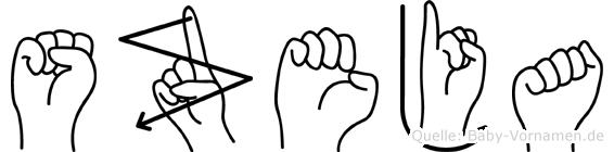 Szeja im Fingeralphabet der Deutschen Gebärdensprache