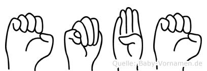 Embe im Fingeralphabet der Deutschen Gebärdensprache