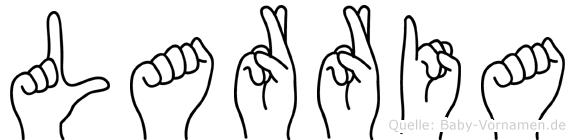 Larria im Fingeralphabet der Deutschen Gebärdensprache