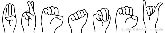 Breaney im Fingeralphabet der Deutschen Gebärdensprache