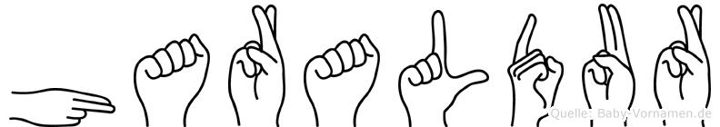 Haraldur im Fingeralphabet der Deutschen Gebärdensprache