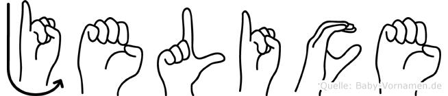 Jelice im Fingeralphabet der Deutschen Gebärdensprache