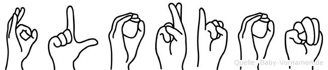 Florion im Fingeralphabet der Deutschen Gebärdensprache
