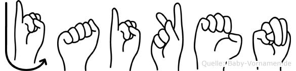 Jaiken im Fingeralphabet der Deutschen Gebärdensprache