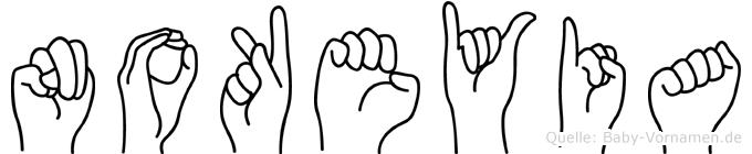 Nokeyia im Fingeralphabet der Deutschen Gebärdensprache