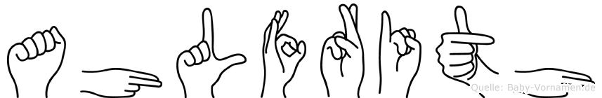 Ahlfrith im Fingeralphabet der Deutschen Gebärdensprache