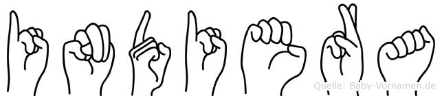 Indiera im Fingeralphabet der Deutschen Gebärdensprache