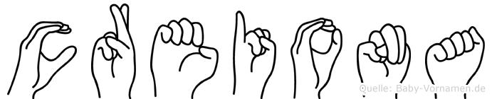 Creiona im Fingeralphabet der Deutschen Gebärdensprache
