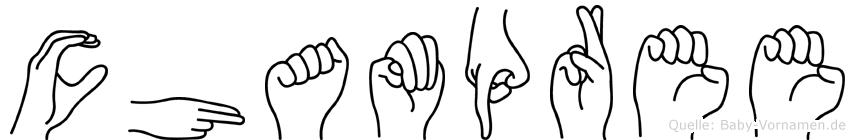 Champree im Fingeralphabet der Deutschen Gebärdensprache