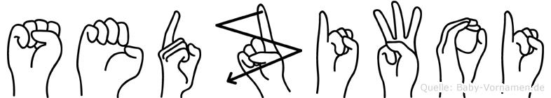 Sedziwoi im Fingeralphabet der Deutschen Gebärdensprache