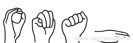 Omah im Fingeralphabet der Deutschen Gebärdensprache