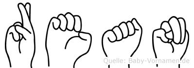 Rean im Fingeralphabet der Deutschen Gebärdensprache