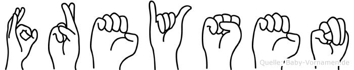 Freysen im Fingeralphabet der Deutschen Gebärdensprache