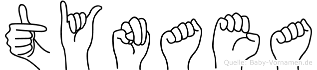 Tynaea im Fingeralphabet der Deutschen Gebärdensprache