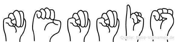 Nennis im Fingeralphabet der Deutschen Gebärdensprache