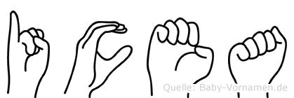 Icea in Fingersprache für Gehörlose