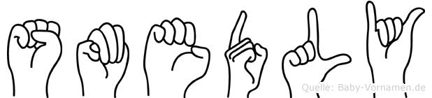 Smedly im Fingeralphabet der Deutschen Gebärdensprache