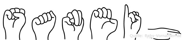Saneih im Fingeralphabet der Deutschen Gebärdensprache