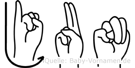 Jun im Fingeralphabet der Deutschen Gebärdensprache