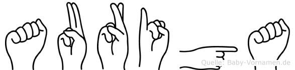 Auriga im Fingeralphabet der Deutschen Gebärdensprache