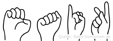 Eaik im Fingeralphabet der Deutschen Gebärdensprache