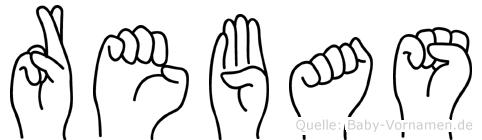 Rebas im Fingeralphabet der Deutschen Gebärdensprache