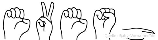 Evesh im Fingeralphabet der Deutschen Gebärdensprache