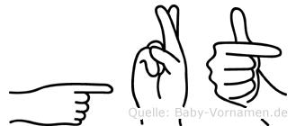 Gört in Fingersprache für Gehörlose
