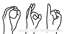 Ofi im Fingeralphabet der Deutschen Gebärdensprache