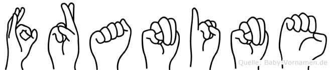 Franine im Fingeralphabet der Deutschen Gebärdensprache