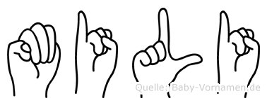 Mili im Fingeralphabet der Deutschen Gebärdensprache
