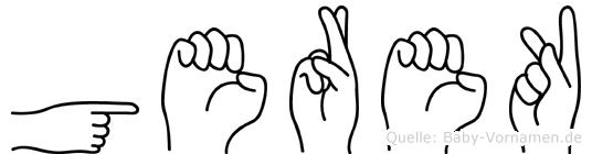 Gerek im Fingeralphabet der Deutschen Gebärdensprache