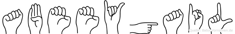 Abeeygail im Fingeralphabet der Deutschen Gebärdensprache