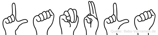 Lanula im Fingeralphabet der Deutschen Gebärdensprache