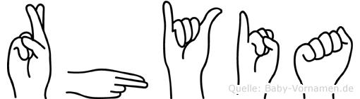 Rhyia in Fingersprache für Gehörlose