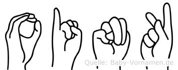 Oink im Fingeralphabet der Deutschen Gebärdensprache