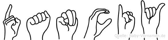 Danciy im Fingeralphabet der Deutschen Gebärdensprache