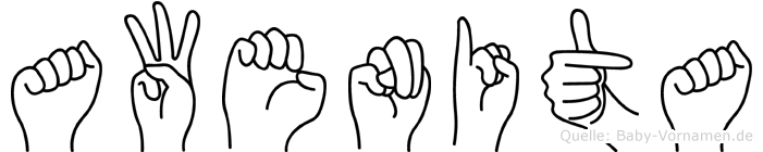Awenita in Fingersprache für Gehörlose