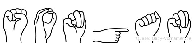 Songan im Fingeralphabet der Deutschen Gebärdensprache