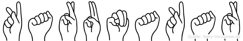 Karunakar im Fingeralphabet der Deutschen Gebärdensprache