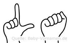 La in Fingersprache für Gehörlose