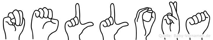 Nellora im Fingeralphabet der Deutschen Gebärdensprache