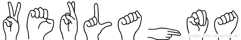 Verlahna im Fingeralphabet der Deutschen Gebärdensprache
