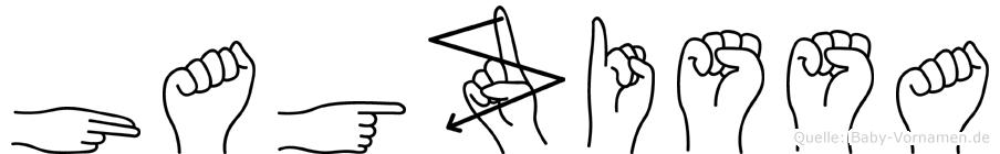 Hagzissa im Fingeralphabet der Deutschen Gebärdensprache